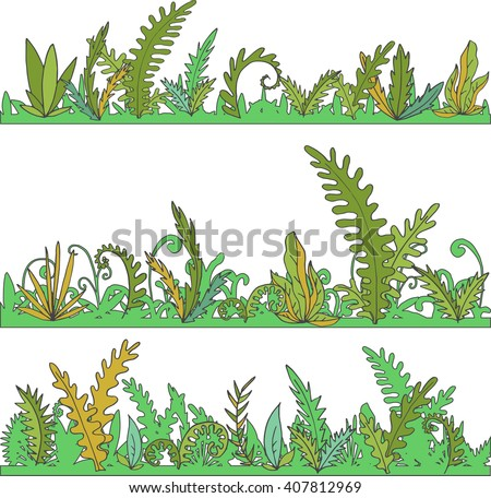 abstract vector landscapes with grass and plants, cartoon wild herbs, green jungle vegetation, hand drawn vector background - stock vector