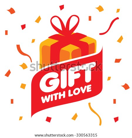 Abstract vector logo box with gifts. Design element - stock vector