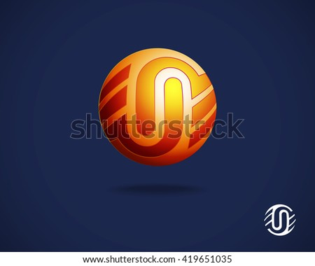 Abstract Vector Logo Design Template. Combination of Letters U and N. Creative Concept Icon. Round Emblem. Orange Logotype on Blue Background - stock vector