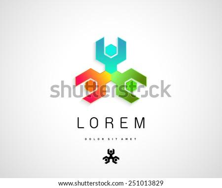 Abstract Vector Logo Design Template. Creative Circle of Spanner Icon - stock vector
