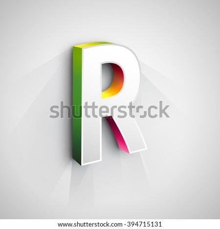 Abstract Vector Logo Design Template. Creative 3d Concept Icon. Letter R Stylization  - stock vector