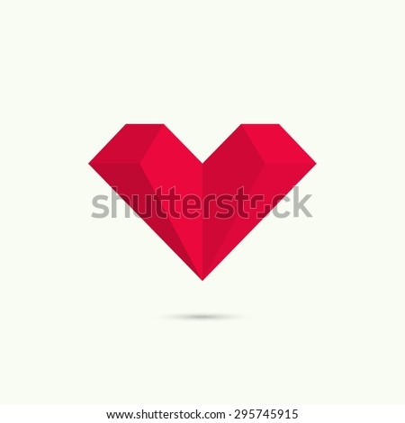 Abstract vector logo design template. Low poly heart symbol, red. - stock vector