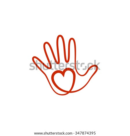 Abstract vector logo heart in a hand. Stylized line icon. - stock vector