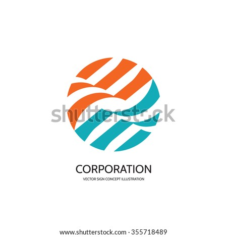 Abstract vector logo template creative illustration. Stripes in circle. Sphere sign. Hi-tech symbol. Business concept icon. Geometric insignia. Design element. - stock vector