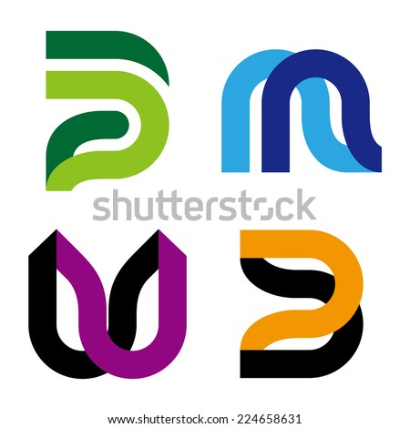 """Abstract vector logo template. """"m"""", """"w"""", """"p"""", """"u"""", """"n"""", """"B"""" letters icon set. You can use in the commerce, traffic, financial, construction and communication concept of pattern.  - stock vector"""