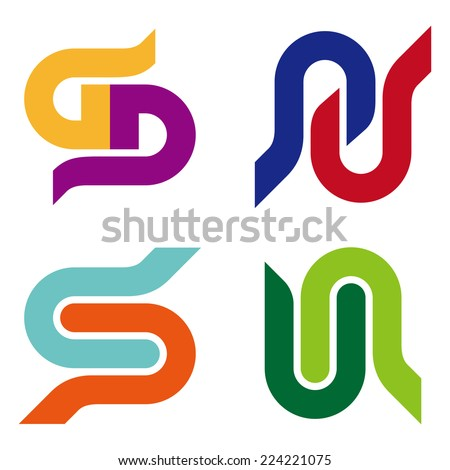 """Abstract vector logo template. """"s"""", """"g"""", """"d"""", """"b"""", """"u"""", """"n"""", """"p"""" letters icon set. You can use in the commerce, traffic, financial, construction and communication concept of pattern.  - stock vector"""