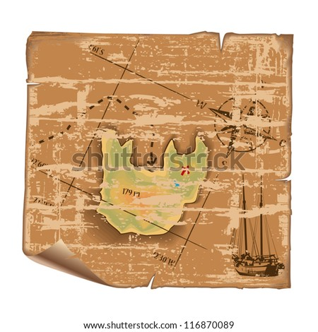 Abstract vector map of treasure island in vintage style. - stock vector