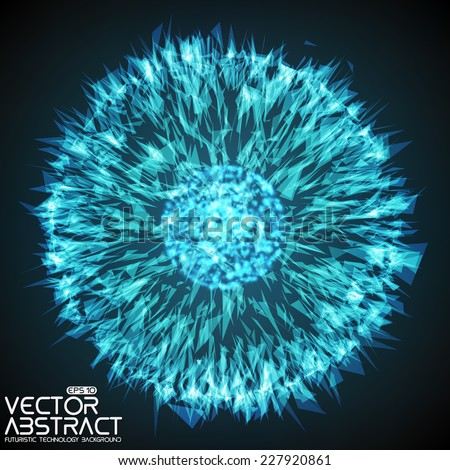 Abstract vector mesh background. Explosion. Futuristic technology style. Elegant background for business presentations. Flying debris. eps10 - stock vector