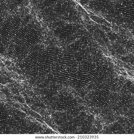 Abstract vector mesh background. Point cloud. Chaotic light waves. Technological cyberspace background.  - stock vector