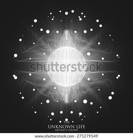 Abstract vector mesh background. Sphere of bioluminescent tentacles. Futuristic style card. Elegant background for business presentations. Eps 10. - stock vector