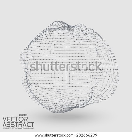 Abstract vector mesh distorted sphere constructed with connected points on light background. Futuristic technology style. Elegant background for business presentations.Eps10 - stock vector