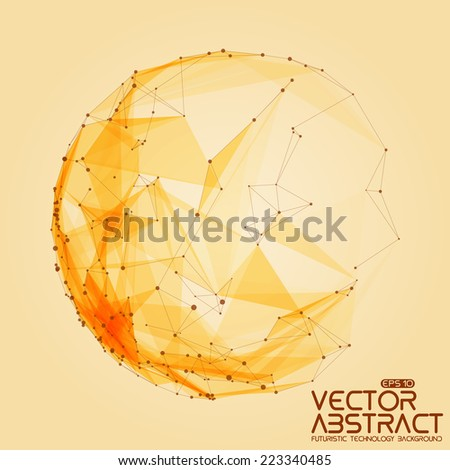 Abstract vector mesh sphere background. Futuristic technology style. Elegant background for business presentations. Destroyed sphere. eps10 - stock vector