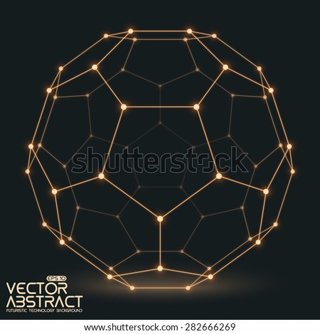 Abstract vector mesh sphere constructed with connected glowing points on dark background. Futuristic technology style. Elegant background for business presentations.Eps10 - stock vector
