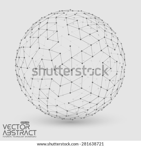 Abstract vector mesh sphere constructed with connected points. Futuristic technology style. Elegant background for business presentations.Eps10 - stock vector