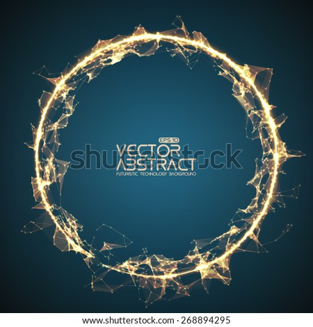 Abstract vector mesh spheres. Futuristic technology style.  - stock vector