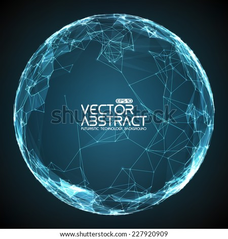 Abstract vector mesh spheres. Futuristic technology style. Elegant background for business presentations. Flying debris. eps10 - stock vector