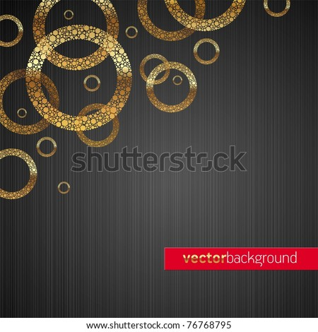 Abstract vector metal texture background with golden circles - stock vector