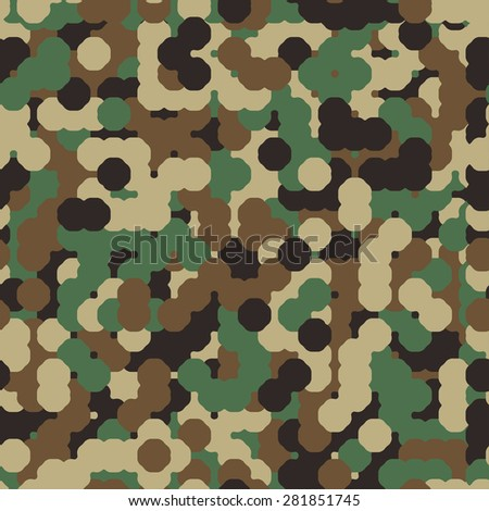 Abstract Vector Military Camouflage Background Made of Round Splash - stock vector