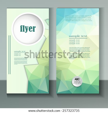 Abstract vector modern flyer  brochure design template with colorful geometric triangular background. Green and blue colors. - stock vector