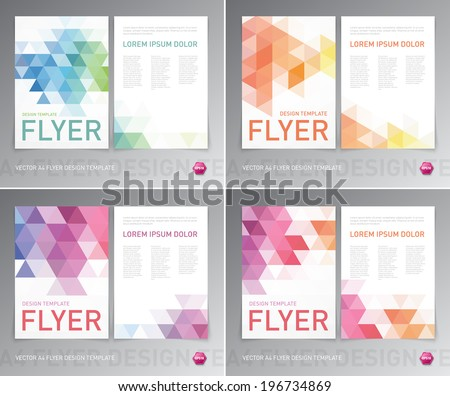 Abstract vector modern flyer / brochure design templates collection with colorful geometric triangular backgrounds.  - stock vector