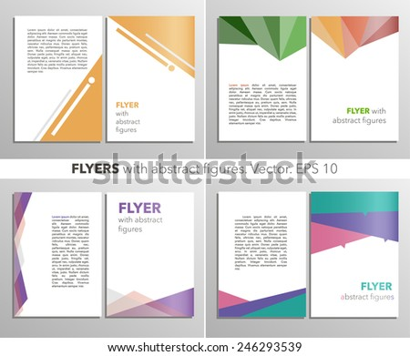 Abstract vector modern flyer / brochure design templates collection with colorful geometric backgrounds. EPS 10 - stock vector