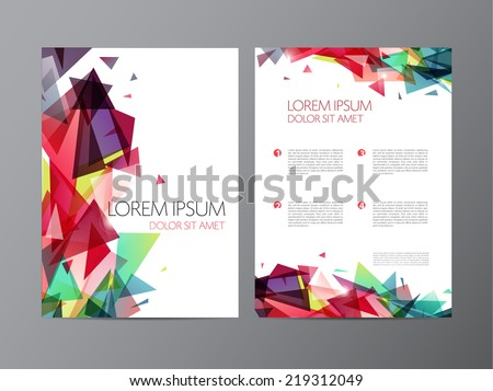 Abstract vector modern flyer / brochure design templates with colorful shiny geometric triangular background - stock vector