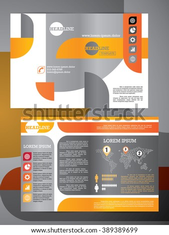 Abstract vector modern flyer half fold brochure, booklet, annual report, design templates with white background in size a4.