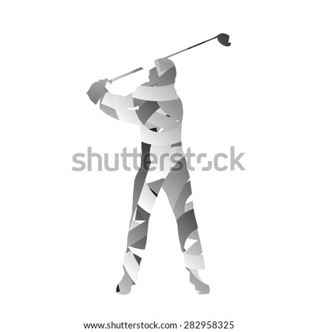 Abstract vector monochromatic golfer - stock vector
