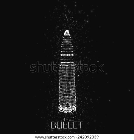 Abstract vector monochrome background with glowing bullet. Cloud of shining points in the shape of a bullet. Futuristic style card. Eps10 - stock vector