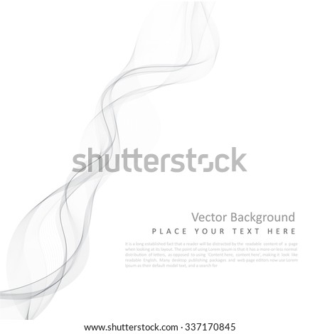 Abstract vector monochrome background with transparent smoke - stock vector