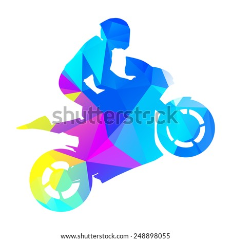 Abstract vector moto racer. Geometrical graphic style - stock vector