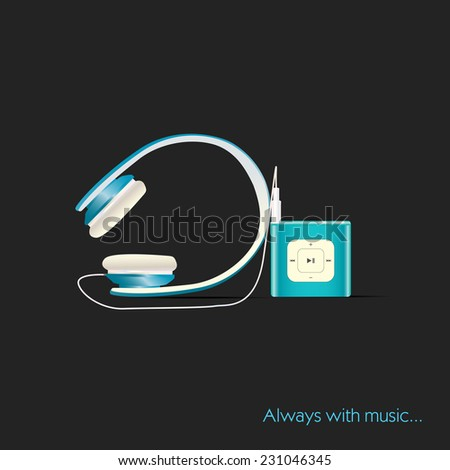 Abstract vector mp3 player with headphones - stock vector