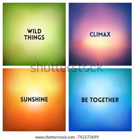 Abstract Vector Multicolored Blurred Background Set 4 Colors