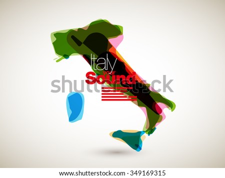 Abstract Vector Nation Map Background - Italy - stock vector