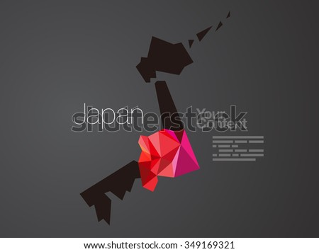 Abstract Vector Nation Map Background - Japan - stock vector