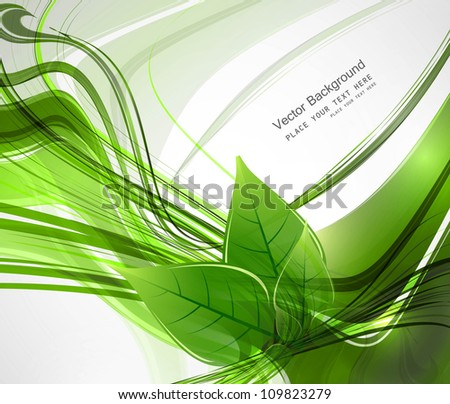 abstract Vector natural eco green lives line wave  illustration - stock vector