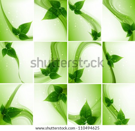 abstract Vector Natural eco green lives wave collection design - stock vector