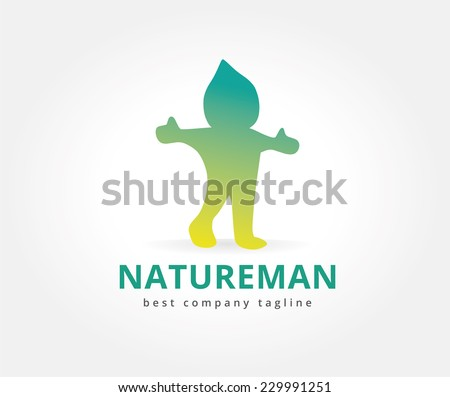 Abstract vector nature character logo icon concept. Logotype template for branding and corporate design - stock vector