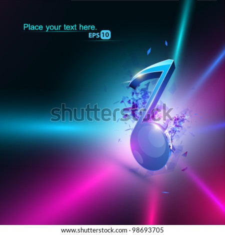 Abstract vector note disco illustration - stock vector