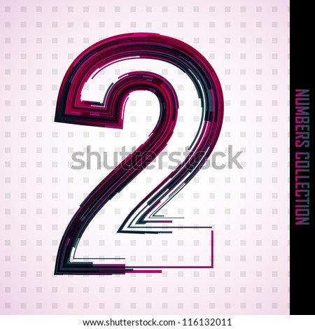 Abstract vector number two from numbers set made from lines - stock vector