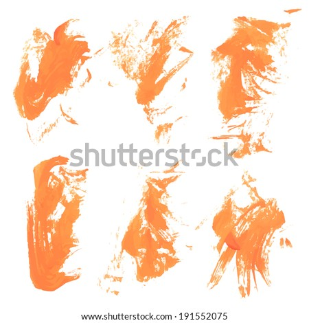 Abstract vector orange paint strokes 2