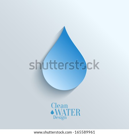 Abstract  Vector Paper Water Drop on Blue Background.  Eco Concept. - stock vector