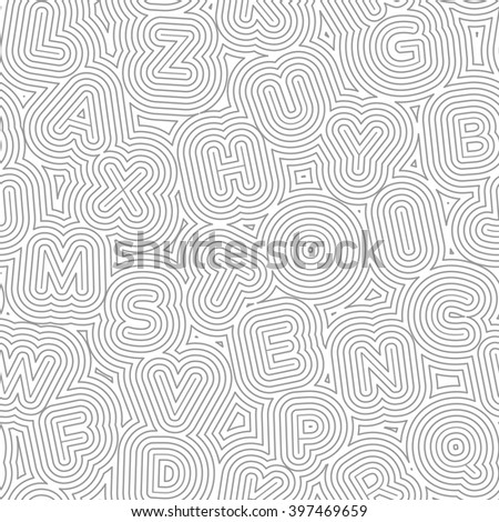 Abstract vector pattern with letters in an organic maze. Seamless texture. - stock vector