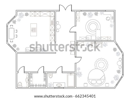 Abstract Vector Plan Of One Bedroom Apartment, With Kitchen, Bathroom,  Bedroom, Part 82