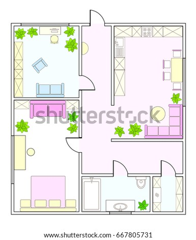 Superior Abstract Vector Plan Of Two Bedroom Apartment, With Kitchen, Bathroom,  Childrenu0027s Room