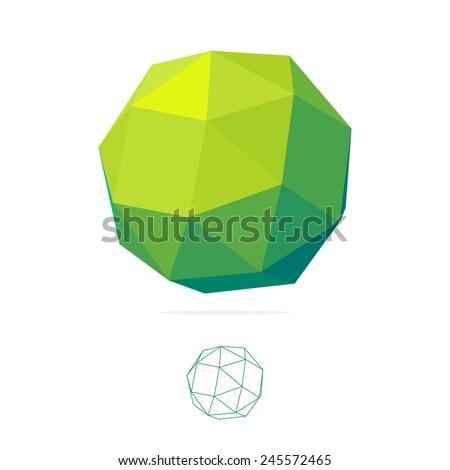 Abstract Vector polygon logo.  low poly sphere. Concept Icon - stock vector