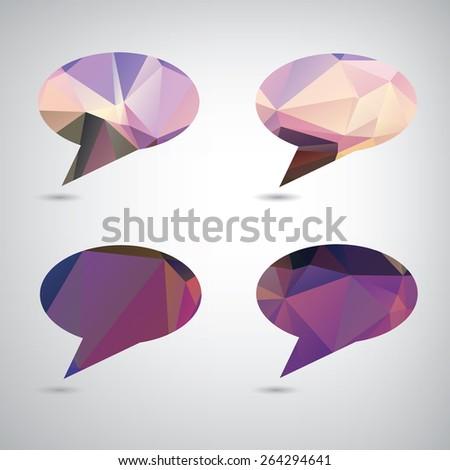 Abstract vector polygonal speech bubble,eps10 - stock vector
