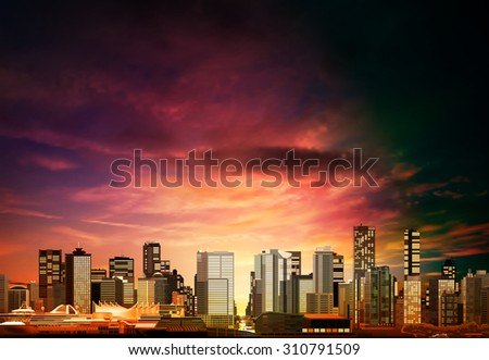 abstract vector purple sunset background with panorama of vancouver
