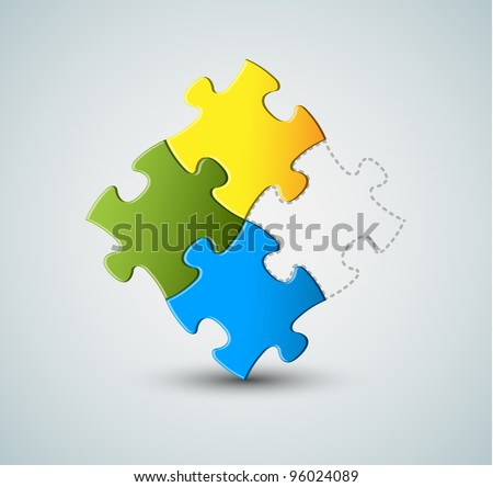 Abstract vector puzzle / solution background - missing piece - stock vector