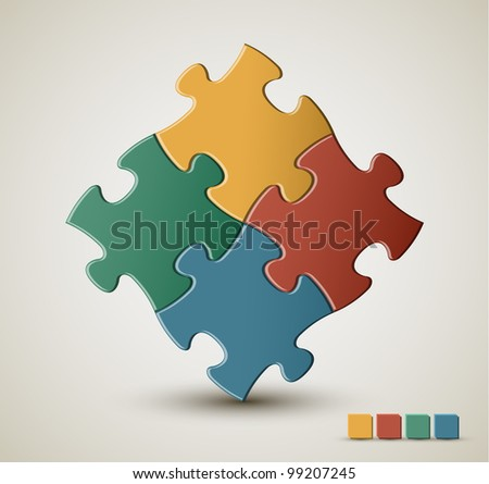 Abstract vector puzzle / solution background with retro colors - stock vector